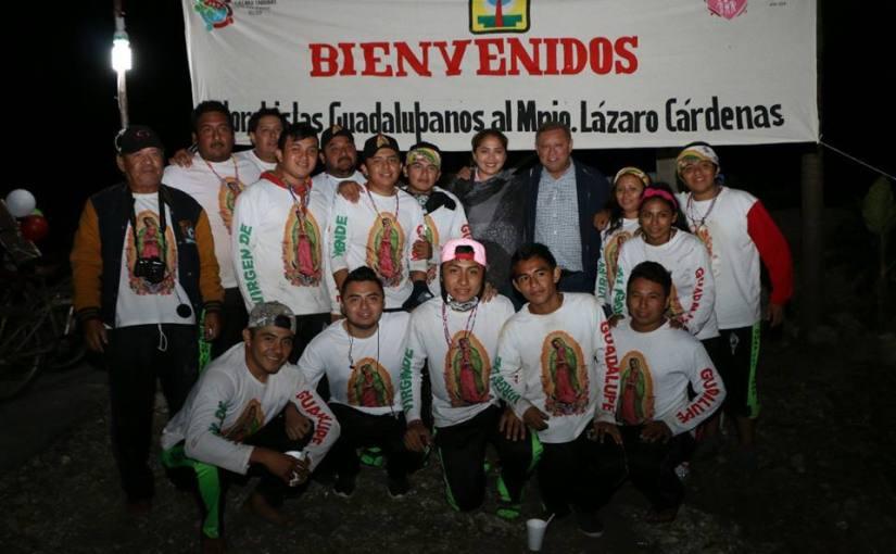 Recepción a antorchistas guadalupanos en LázaroCárdenas