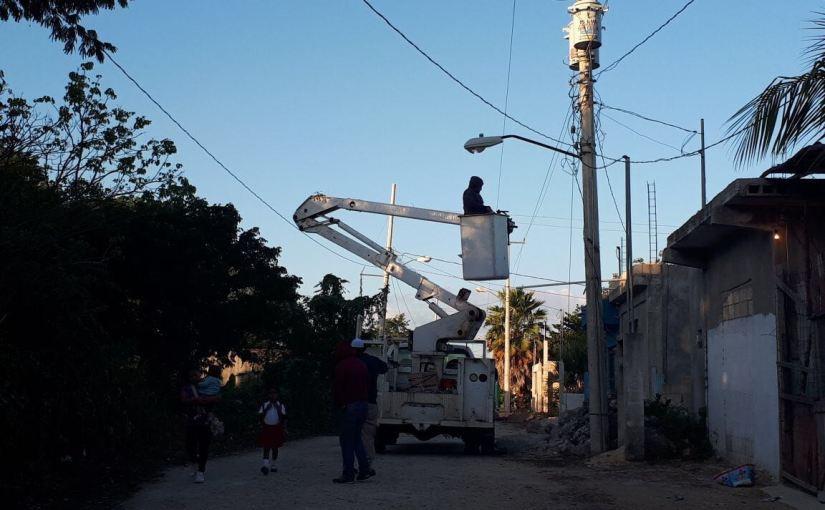 Atiende Ayuntamiento de Isla Mujeres alumbrado público en RanchoViejo